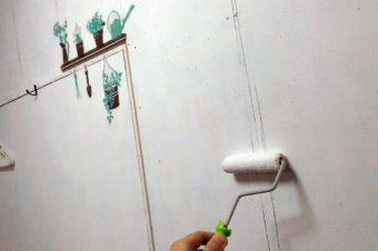 お客様にご満足頂けるスペース作りを!洋室の壁のペンキを塗り直しました。